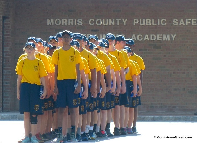 Teens drill, police-style, at the Morris County Public Safety Academy. Photo by Kevin Coughlin