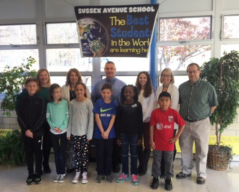 Sussex Avenue Principal Peter Frazzano with staff and students. Photo courtesy of the Morris School District.