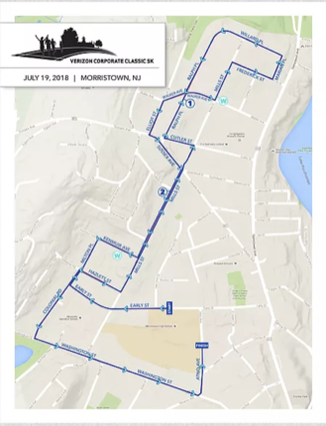 Route map for the 2018 Verizon Corporate Classic 5K in Morristown.